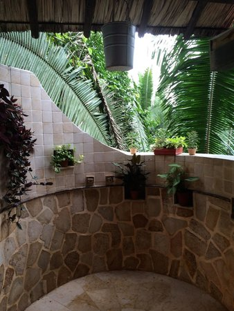 Ian Anderson's Caves Branch Jungle Lodge : Outdoor shower, check out the bucket