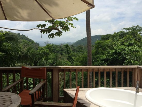 Ian Anderson's Caves Branch Jungle Lodge: view from deck on top of treehouse, table and chairs, soaking tub under the stars