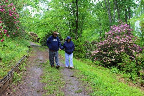 Fred Hamilton Gardens: Glen and Carol walking hand and hand