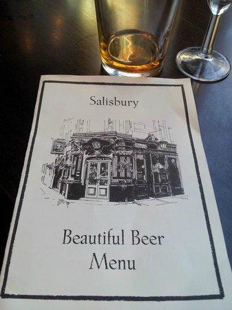 The Salisbury: Beautiful Beer Menu