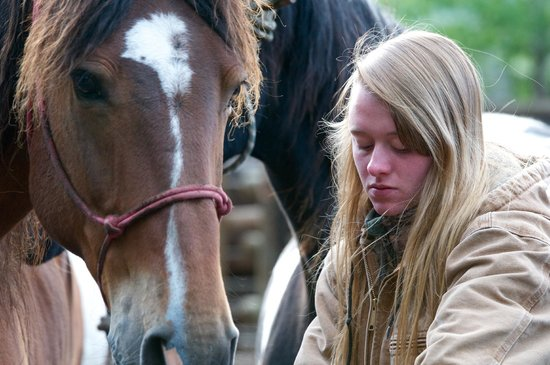 7D Ranch: Madison readies a horse in the early morning