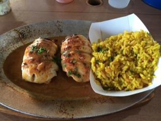 Shore Fresh Seafood Market & Restaurant: Stuffed flounder with dirty rice - yum!