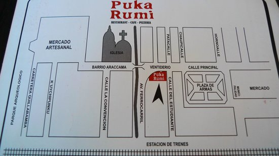 Map to show the location of Puka Rumi restaurant, Ollantaytambo