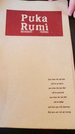 The English menu at Puka Rumi restaurant, Ollantaytambo