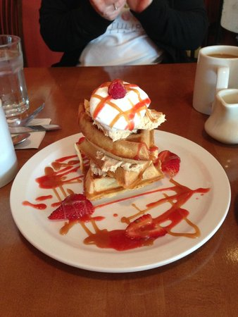 The Biscuit: peanut butter mousse waffles