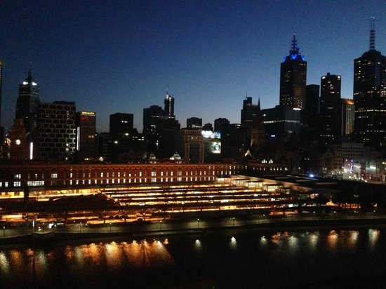 The Langham, Melbourne: actual view from our room (first light) Flinders Street