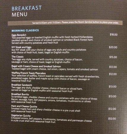 Hilton San Jose : Room Service Menu Breakfast