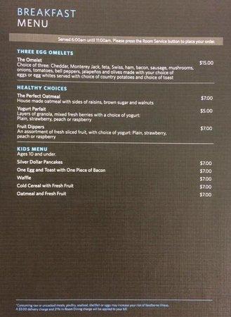Hilton San Jose : Room Service Menu