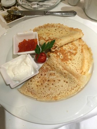 Kempinski Hotel Moika 22: Russian Pancake with Red Caviar for breakfast