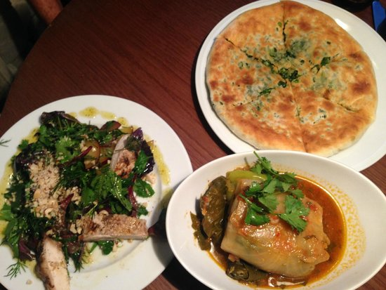 Our order - Khachapuri bread stuffed with spinach and coriander; Veg Sarma AND Chicken-Green sal