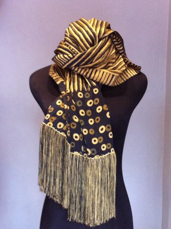 AKU Boutique: Hand painted silk Shawl in a natural dye ( with a heavy silk tread fringe )