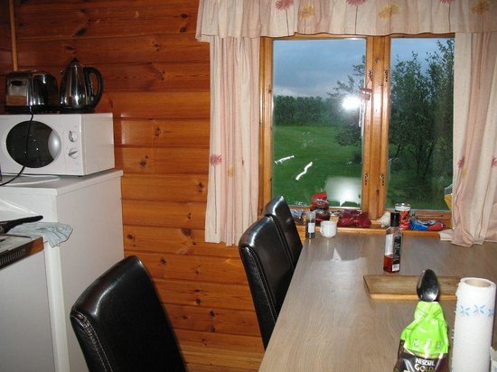 Hellisholar Cottages: Kitchen with stove, water cooker and microwave