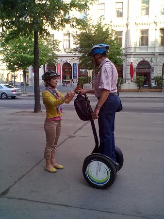 Pedal Power Bike and Segway: our guide giving instructions