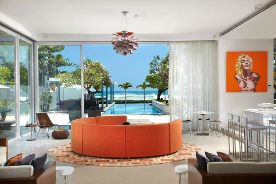 Lounge with view to pool and beach, Luna2 private hotel