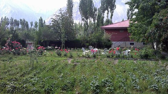 Hotel Snowland Palace: Main Lawn with sitting area and Strawberries plantation