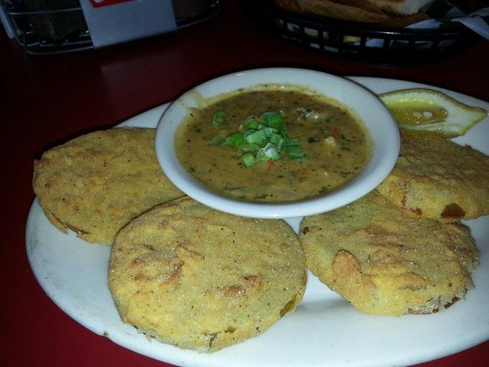 Wintzell's Oyster House: Fried green tomatoes... better than in Savannah.  Sauce has crayfish.  Yummy!