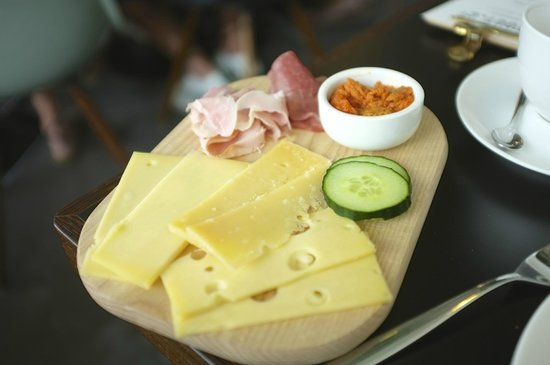 Stout & Co. Amsterdam: Locally produced cheeses and different charcuterie at breakfast