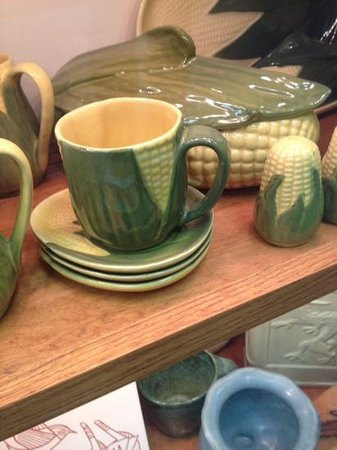 Caldwell, OH: A collection of corncob pottery at the Baker Family Museum.