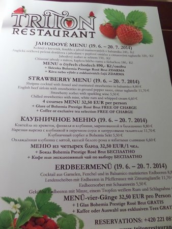 Triton Restaurant: Strawberry themed menu