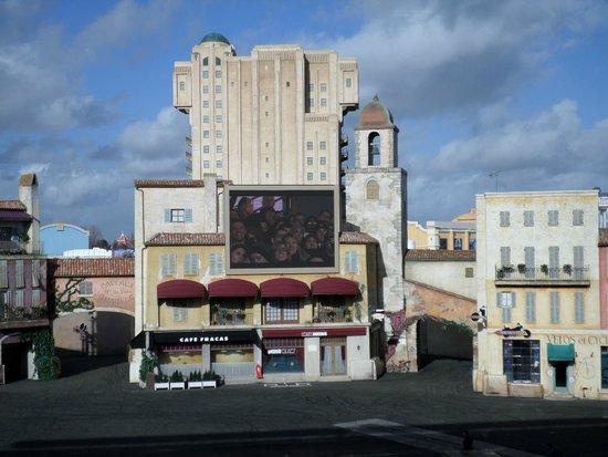 Walt Disney Studios Park: inside the stunt arena looking at tower of terror