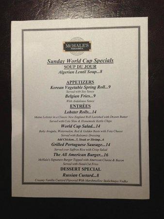 McHales Bar & Grill: оригинальное меню
