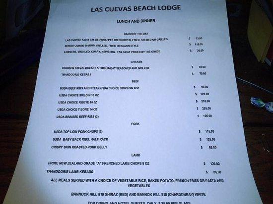 Las Cuevas Beach Lodge: International Menu
