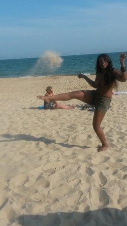 Bournemouth Beach: Kicking the sand