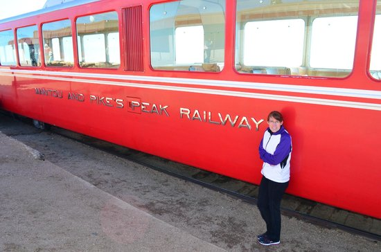 Pikes Peak Cog Railway: In front of the train! Yep, it's cold!