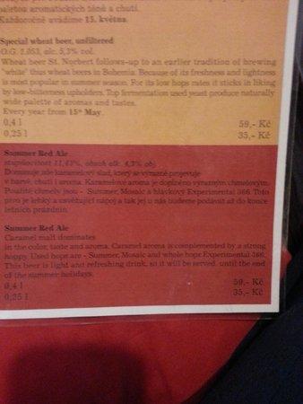 The Strahov Monastic Brewery: Beer menu