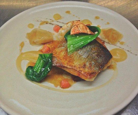 ABode Restaurant: Sea bass, Roast Langoustine, Pancetta, Ginger Jus