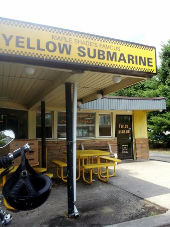 Yellow Submarine: The outside of the place, kinda set back, easy to miss