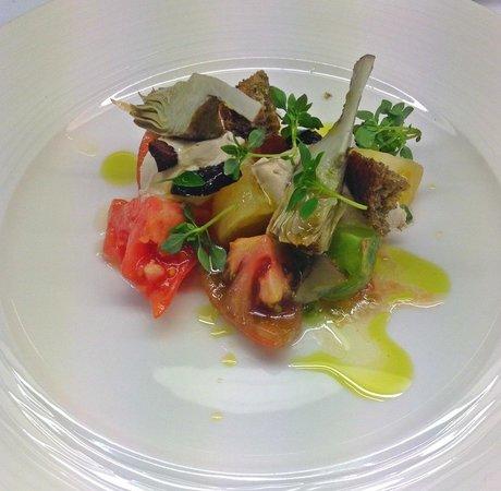 ABode Restaurant: Heirloom Tomato Salad, Balsamic Cream, Croutons Basil