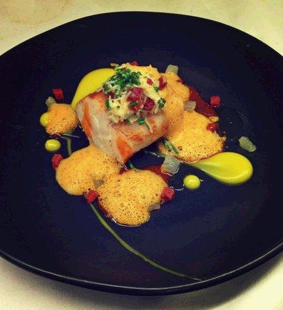 ABode Restaurant: Roast Fleetwood Cod, Lemon Purée, Crab, Samphire