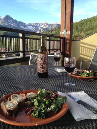 Lumiere Telluride: enjoying a nice meal on our balcony at Lumiere