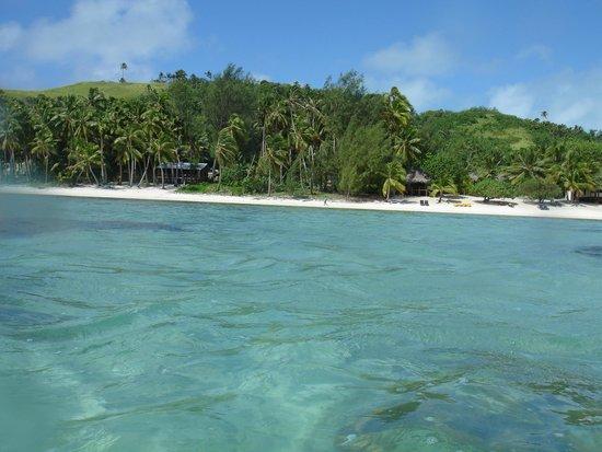 Amuri Sands, Aitutaki: Tide is in, water was murky