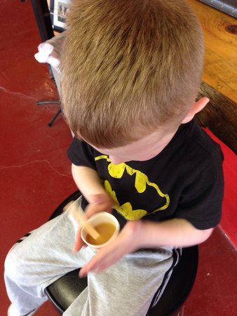 Cold Hollow Cider Mill: Don't forget to ask for the FREE advertised kids' (Dixie cup) frozen cider. Here my son is rolli