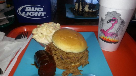 Ralph's Pink Flamingo BBQ: Chopped brisket sandwich, mac n cheese and sausage