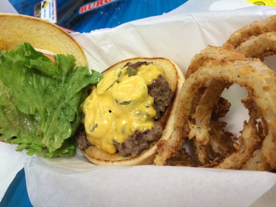 Classics - Burgers & Moore: Regular cheeseburger with Texas Pickles and Onion Rings!!