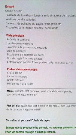 Cafe Botiga Es Pes de Sa Palla : La carta