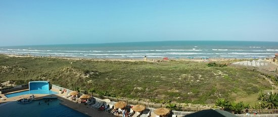 "Hilton Garden Inn South Padre Island: view East - part of the large pool below - don't know how these ""panoramic photos"" will display"