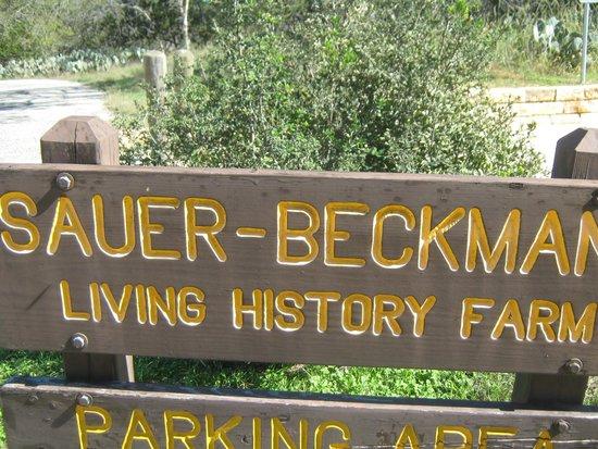 Lyndon B. Johnson National Historical Park: Sign at farm near parking