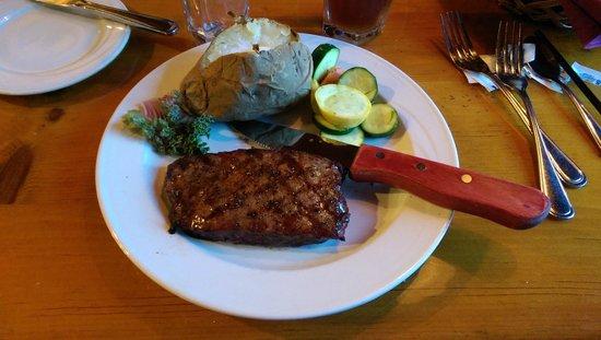 Mogul Restaurant : Flat Iron Steak, baked potato and steamed veggies