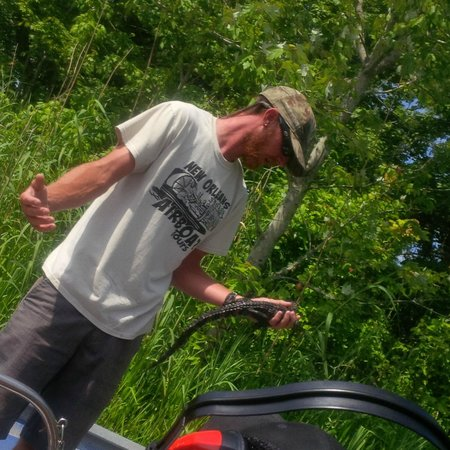 Jean Lafitte Swamp Tours : Our Guide and his Money Maker!
