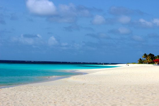 Shoal Bay Village, Anguilla: View down the empty beach
