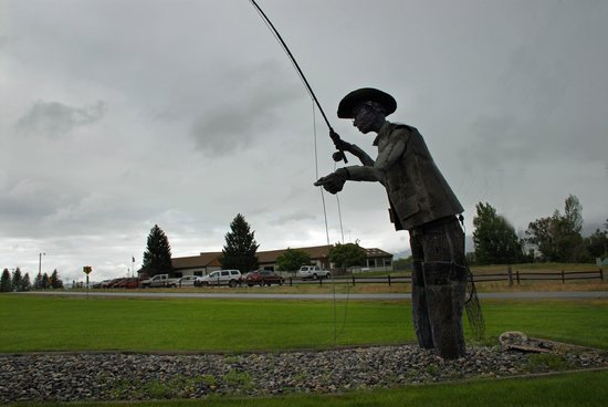 fly fishing statue in ennis mt picture of rainbow