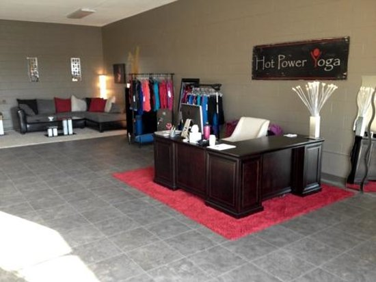 Hot Power Yoga: Front lobby and reception area.