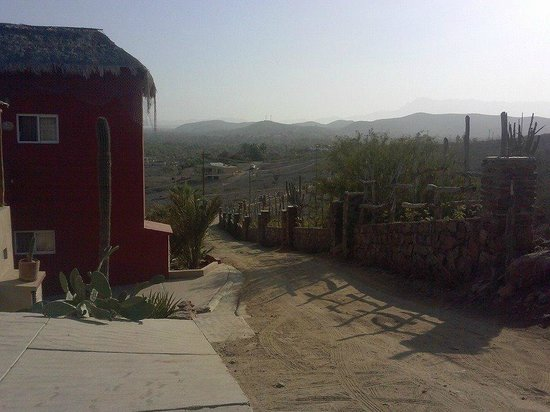 Los Colibris Casitas: View down the driveway and of the mountains in the distance