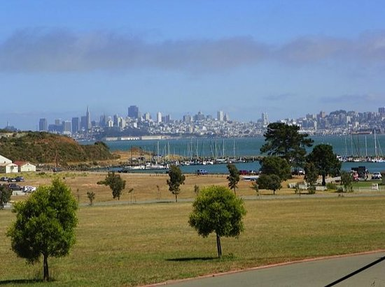 Cavallo Point: View from front of hotel across to SF