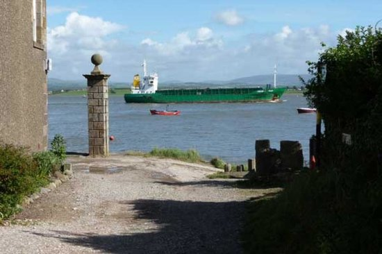 Sunderland Point: Boat leaving glasson dock, view from the lane at SP