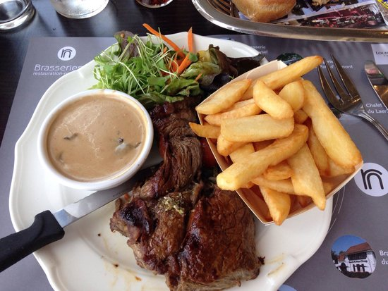 Restaurant MIM: Steak with mushroom sauce